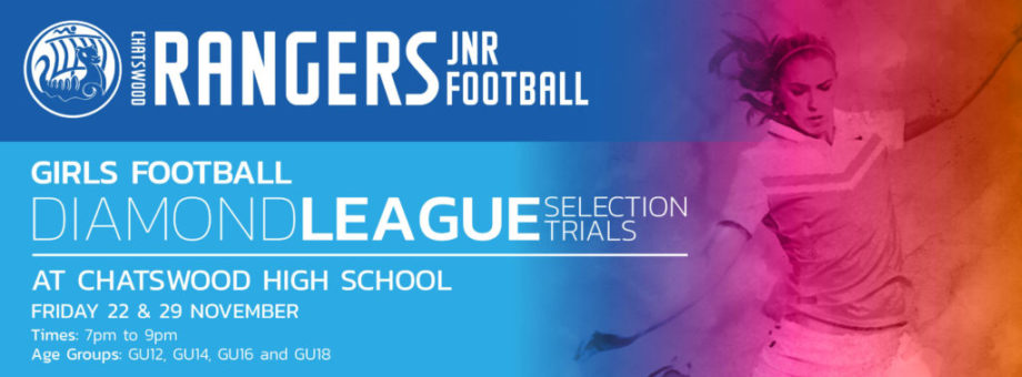 Chatswood Rangers Junior Football Diamond League Trials 2019 web banner