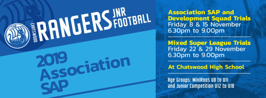 Chatswood Rangers Association SAP Trials 2019 (web banner) UPDATED