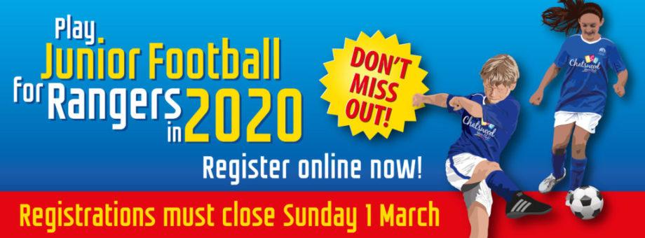 Chatswood Rangers Junior Football Registratons Web Banner 2020